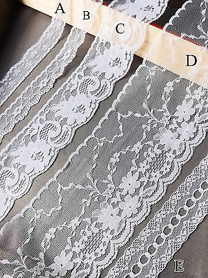 VINTAGE Snow White LACE RIBBON TRIM Assorted Bridal Shabby Chic Cards Sewing