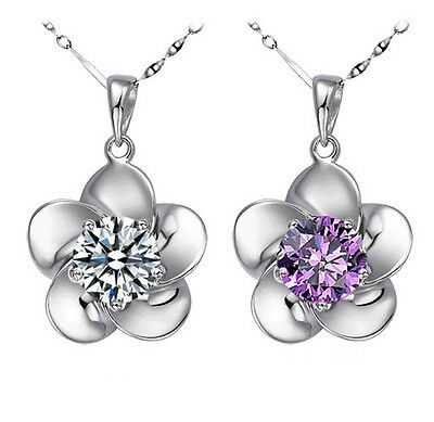 925sterling silver Hot fashion flower crystal pendant lady's necklace chain J