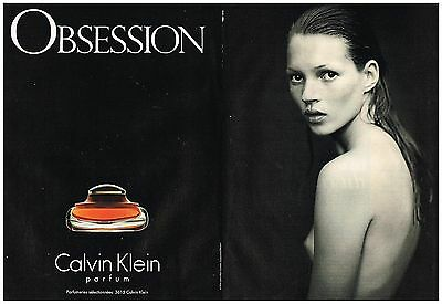 "Publicité Advertising 1994 (2 pages) Parfum ""Obsession"" calvin Klein  kate Moss"