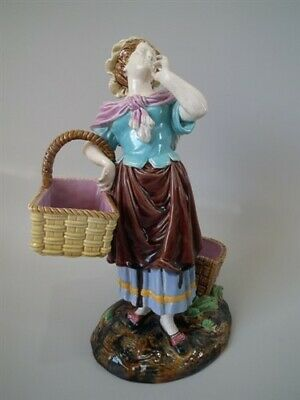 Brown Westhead Moore & Co Majolica lady with basket figure