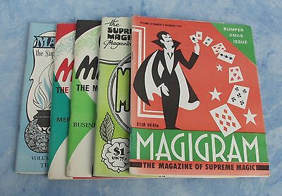 5 Issues of MAGIGRAM The Supreme Magic Magazine from 1972 to 1978 - ENGLAND