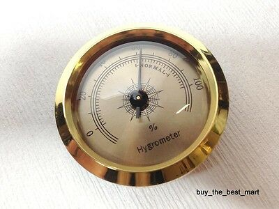Vintage GOLD Color Smoking Tobacco Hygrometer for Cigar Humidor