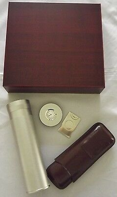 Travel Humidor Cherry with Humidifier - Silver Tube Humidor - Leather Cigar Case