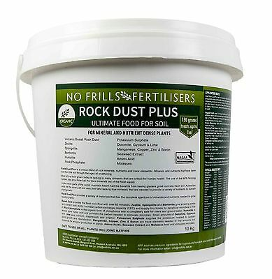 Rock Dust PLUS 10kg NO FRILLS  Certified Organic Fertiliser Vegetable Garden