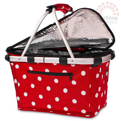 D.LINE Shop & Go Insulated Cooler Carry Basket with Lid Red and White Polka Dot!