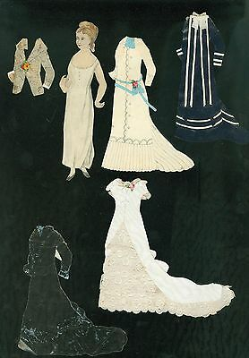 """5"""" Hand Made Watercolor Paper Doll w 4+ Decorated Paper Costumes 1880s"""