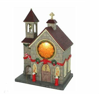 Forever Gifts Village Church Christmas Lighted House Decoration Ceramic NEW