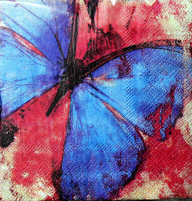 bLUE iNK Set of 40 Cocktail Beverage Paper Napkins - Butterfly Expressions