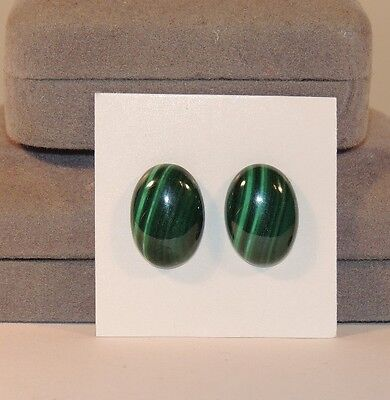 Malachite 13x18mm Cabochons with 5mm dome Set of 2 from Africa (7555)