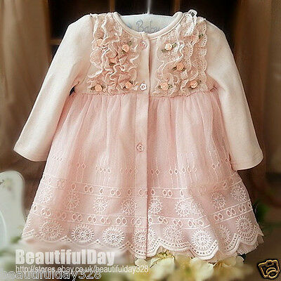 Vintage Baby Girl Flower Lace Dress Christening Birthday Party Formal Wedding