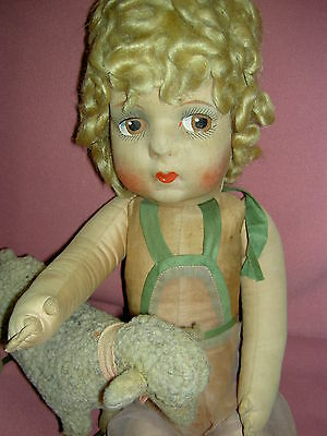 "Labeled French Gre-Poir, 1920-30 cloth doll, ""poodle"" wig & orig. organdy outfit"