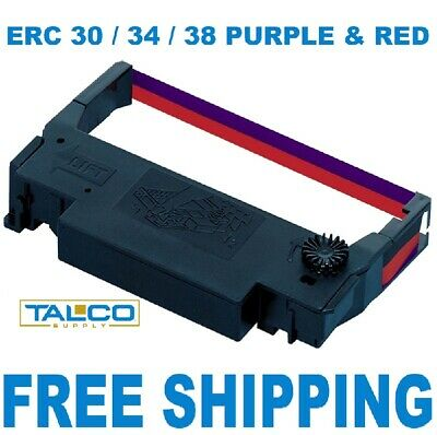 216 New Epson Erc 30 / 34 / 38 Purple & Red Ink Printer Ribbons  *free Shipping*