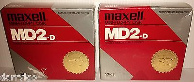 "NEW (20 DISKS) Maxell MD2-D (5 1/4"" Mini Floppy Disk) Diskettes (SEALED BOX) WOW"