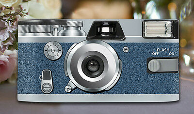 8 x Retro Blue Disposable Wedding Cameras 27exp, flash & matching table cards