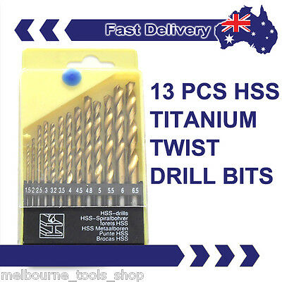 13 PIECE HSS TWIST METRIC DRILL BIT SET, 1.5-6.5mm TITANIUM DRILL BITS