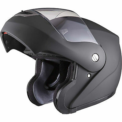 Shox Bullet Flip Up Front Matt Black Motorcycle Helmet Crash Scooter Motorbike
