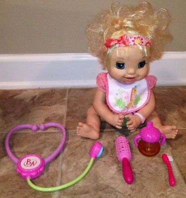 Baby Alive 2007 Blonde Interactive Talking Rubber Face Doll Poops Wets Eats