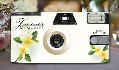 10 x Frangipani Disposable Cameras 27exp, flash & matching table cards