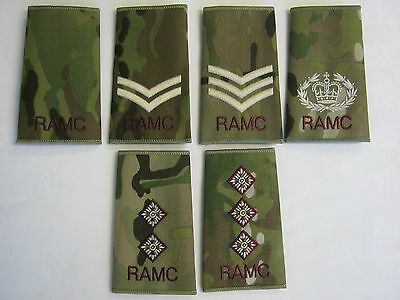 RAMC MTP Regimental Rank Slide with Cream & Maroon Embroidery - Military