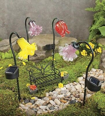 Hand-Blown Glass Solar Flower Stakes
