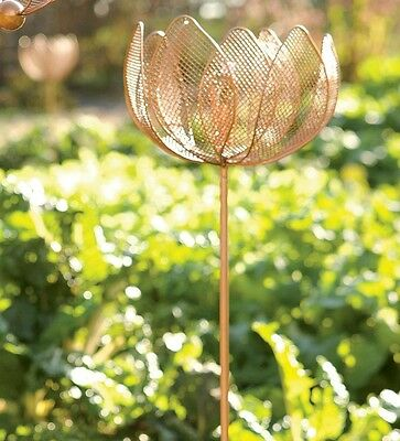 Plow&Hearth Set Of 2 Copper-Finished Flower Garden Stakes