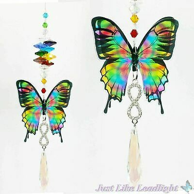 CHAKRA BUTTERFLY CRYSTAL SUNCATCHER infinity icicle pendant gift feng shui prism