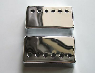 2x Chrome 50mm Pole Spacing LP Humbucker Guitar Pickup Covers fits Les Paul