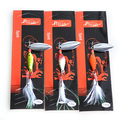 3Pcs Lot of 10g Fishing Lures Trolling Spinner Baits VMC Hook Freshwater Lures