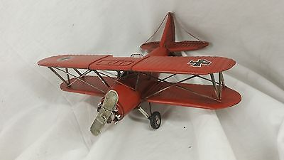 Vintage Metal Red Barron Airplane Home Decor Accent