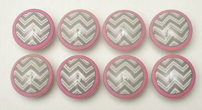 8 Grey Pink Chevron Zig Zag Wooden Dresser Bedding Cordinate Drawer Knobs Pulls
