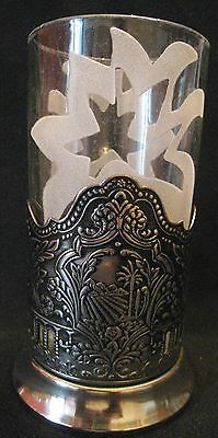 TRADITIONAL RUSSIAN PALM TEA CUP HOLDER with PALM GLASS CUP