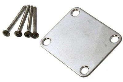 Aged Chrome 4-Hole Neck Plate Relic'd Guitar Bass with Aged Screws Neckplate NEW