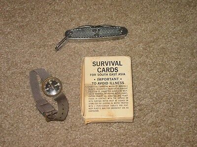 Nam Accessory Set. 61 Dated Survival Knife, Survival Card Pack, Wrist Compass.