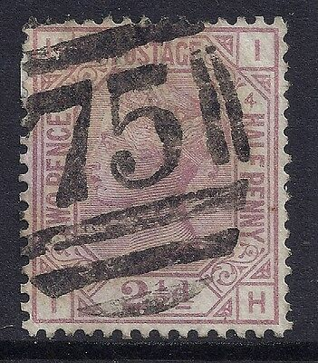 1876 GB SG141 QV 2½d ROSY MAUVE PLATE 4 USED LETTERS 'IH'