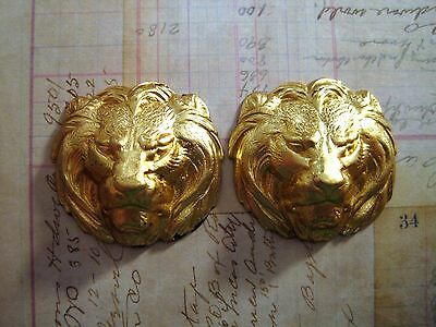 Raw Brass Lion Head Stampings (2) - FF3817 Jewelry Finding