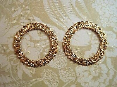 Raw Brass Floral Wreath Stampings (2) - RAT139 Jewelry Finding