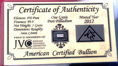 ACB Palladium 99.9 Pure 1Grain Bar. COA Included for Precious Metal Bullion PD $