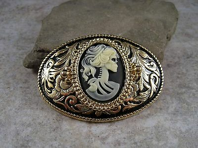 Handmade Gold Day Of The Dead Skeleton Steampunk Belt Buckle