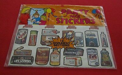 WACKY PACKAGES PARTY PACK STICKERS SHEETS   @@  RARE  @@   AWESOME CONDITION