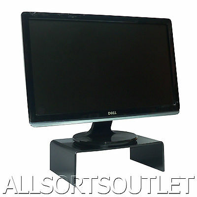 Large Black Acrylic Perspex Tv Computer Monitor Screen Stand Riser Shelf Plinth