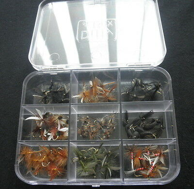 72 Dry Trout Fishing Flies in a Presentation Box, Mixed Sizes and Types
