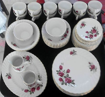 65 Piece Set Of Wood and Sons Rose Royale China