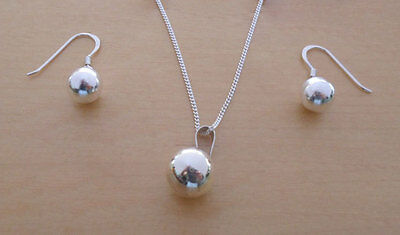 925 Sterling Silver Drop Dangling Ball Earrings & Pendant Set & Curb Chain