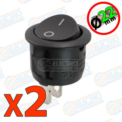 2x Interruptor ON OFF Redondo NEGRO 22mm empotrable panel 6A 220v SPST