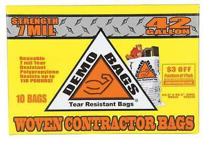 Demobags Contractor Trash Bag, 42 gal., Round, PK10, DB10-42HP