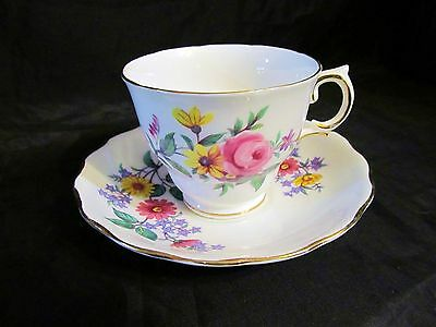 "Vintage Royal Vale "" Yellow & Pink Daisy "" Tea Cup & Saucer"