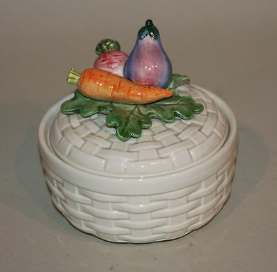 1984 Fitz & Floyd Japan Kitchen Harvest Basket Butter Tub with Lid 66/125 in Box