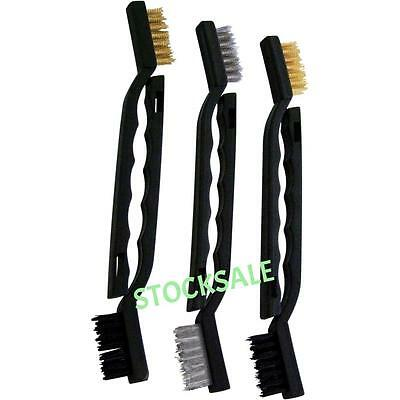6 PIECE 175MM WIRE BRUSH SET NYLON BRASS STEEL CLEAN RUST GRIME  21A