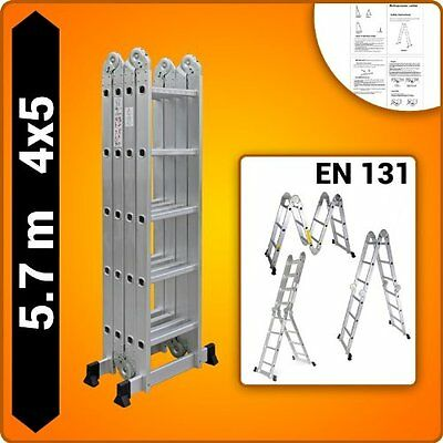 5.7M New Multi Purpose Ladder Aluminium Folding Extension Adjustable Step SYDNEY