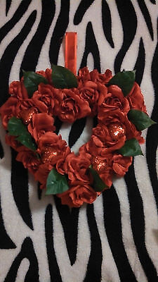 NEW- Pretty Red Rose Heart Wreath/ Wall Hanging-  Valentine's Day Decor